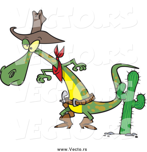 Vector of a Cartoon Cowboy Lizard Prepared to Draw His Gug