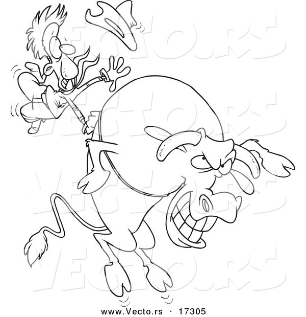 Vector of a Cartoon Cowboy Riding a Giant Bull - Coloring Page Outline
