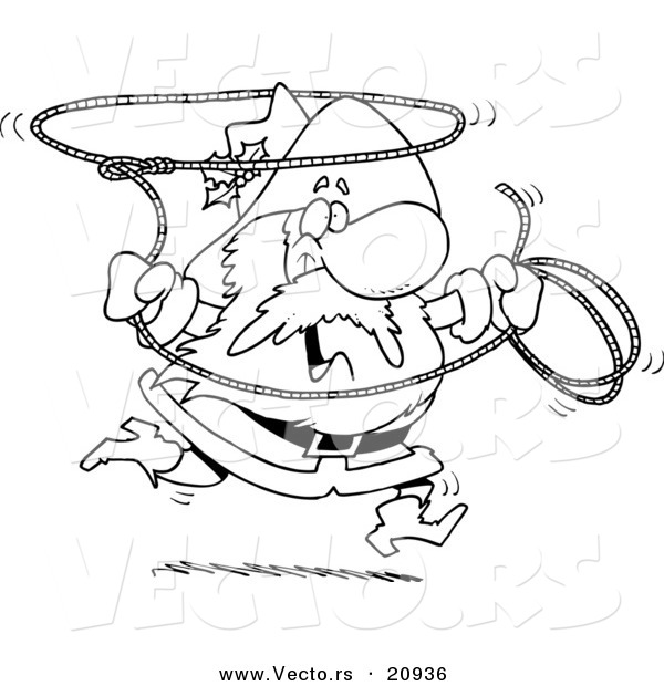 Vector of a Cartoon Cowboy Santa Swinging a Lasso - Coloring Page Outline