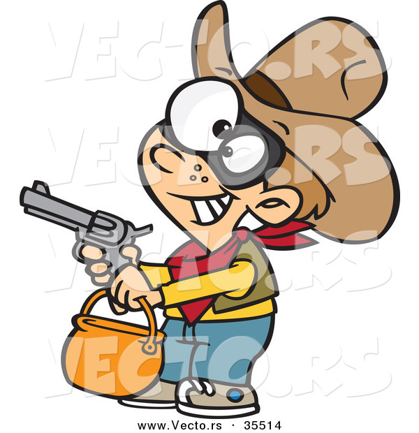 Vector of a Cartoon Cowboy Trick-Or-Treater Pointing a Gun While Grinning on Halloween