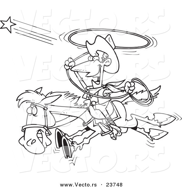 Vector of a Cartoon Cowboy Trying to Catch a Star - Coloring Page Outline