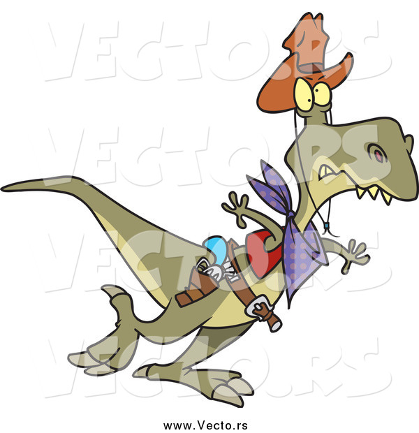 Vector of a Cartoon Cowboy Tyrannosaurus Rex Walking