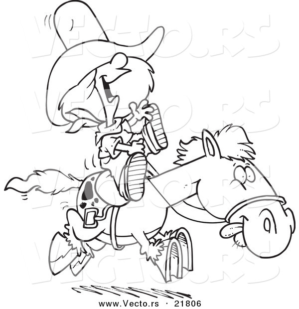 Vector of a Cartoon Cowgirl Riding a Pony - Outlined Coloring Page