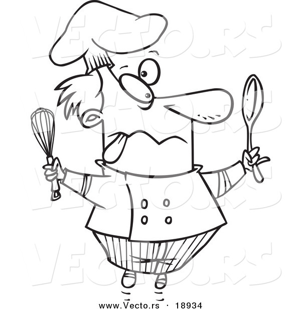 Vector of a Cartoon Crazy Chef - Outlined Coloring Page