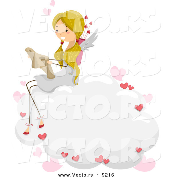 Vector of a Cartoon Cupid Girl Reading a Love Letter on a Cloud