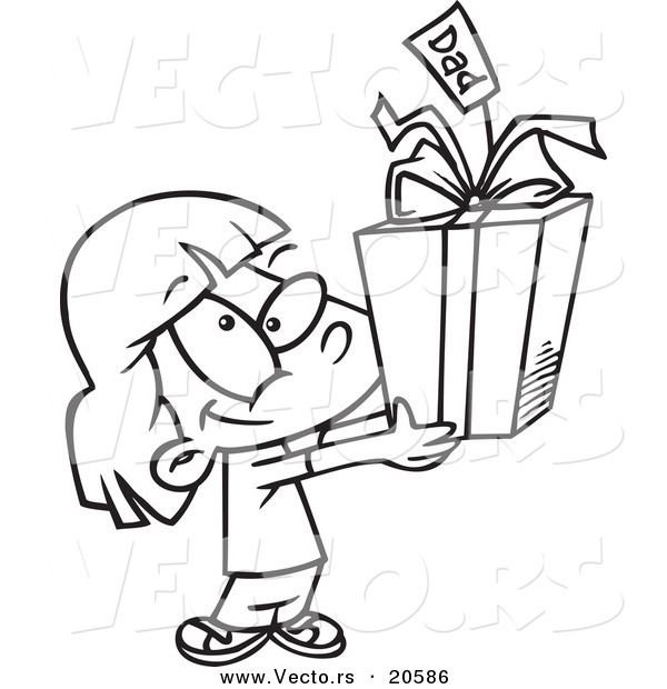 Vector of a Cartoon Cute Girl Holding a Fathers Day Gift - Coloring Page Outline