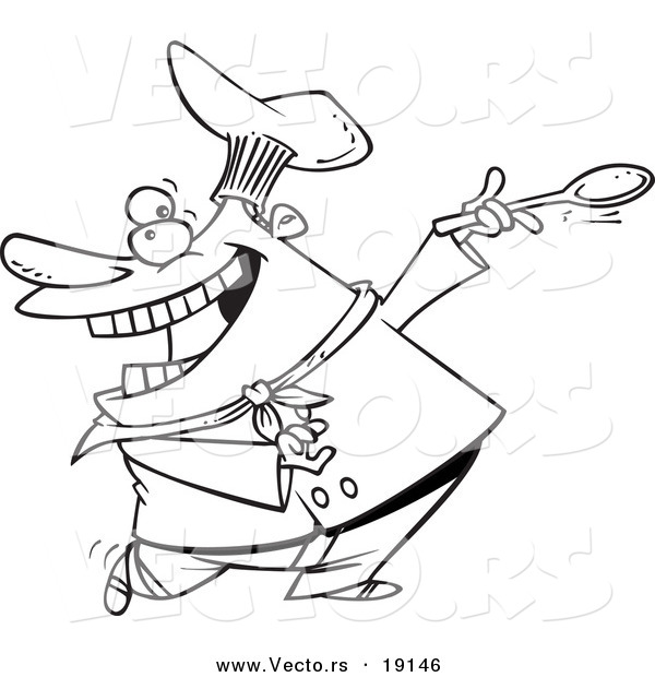 Vector of a Cartoon Dancing Chef - Outlined Coloring Page