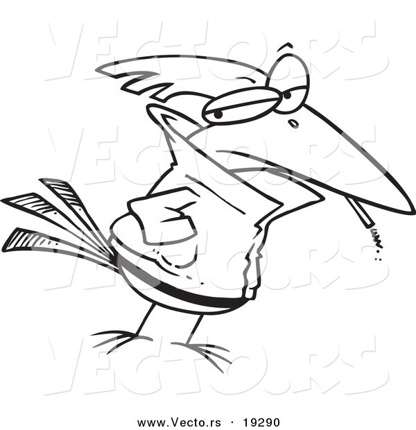 Vector of a Cartoon Delinquent Bird Smoking - Outlined Coloring Page