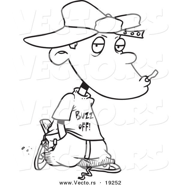 Vector Of A Cartoon Delinquent Boy Smoking Outlined