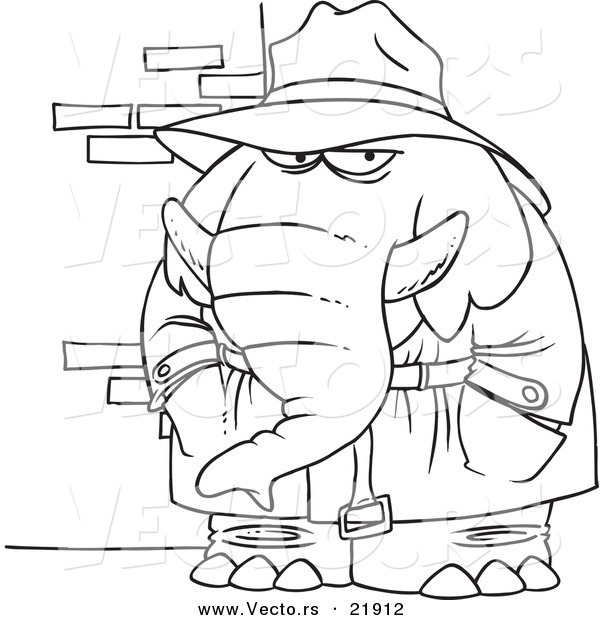 Vector of a Cartoon Detective Elephant - Outlined Coloring Page