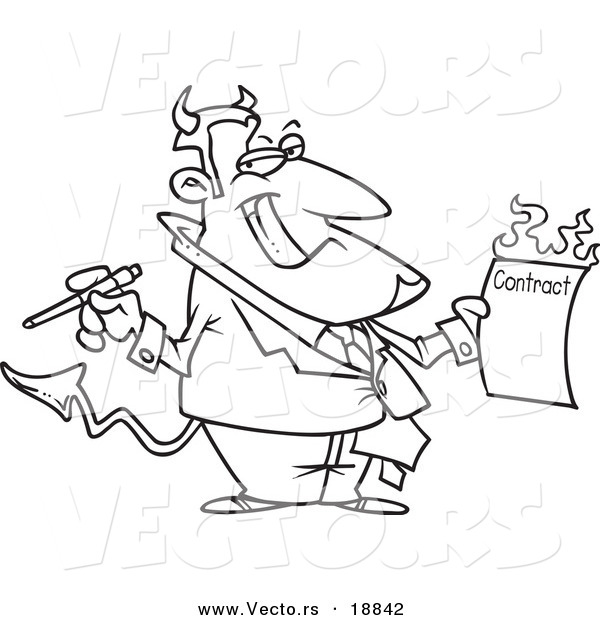 Vector of a Cartoon Devil Holding a Hot Contract - Outlined Coloring Page
