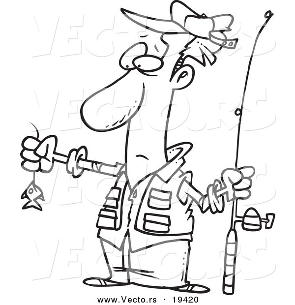 Vector of a Cartoon Disappointed Fisherman with a Tiny Fish - Outlined Coloring Page