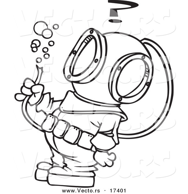 Vector of a Cartoon Diver Looking at a Hose with Bubbles - Coloring Page Outline
