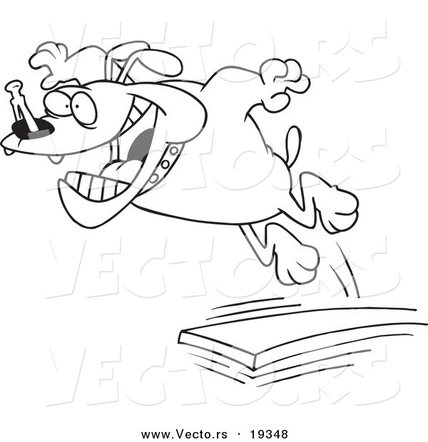 Vector of a Cartoon Diving Board - Outlined Coloring Page