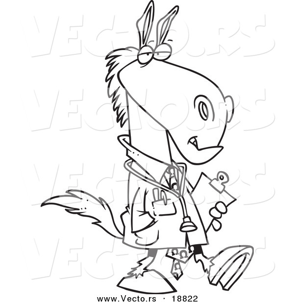 : Vector of a Cartoon Doctor Horse - Outlined Coloring Page