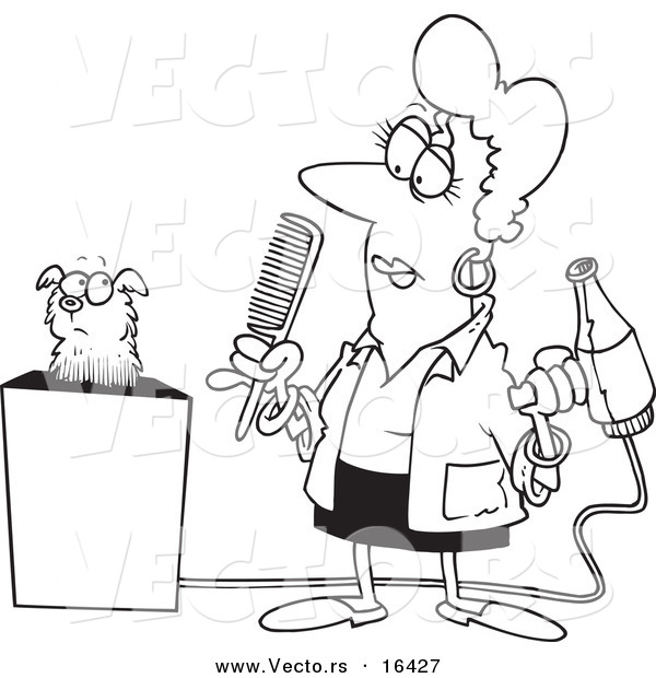 Vector of a Cartoon Dog Groomer Holding a Comb and Blow Dryer - Outlined Coloring Page Drawing