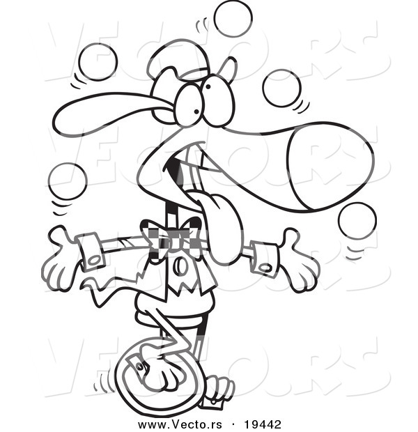 Vector of a Cartoon Dog Juggling and Unicycling - Outlined Coloring Page