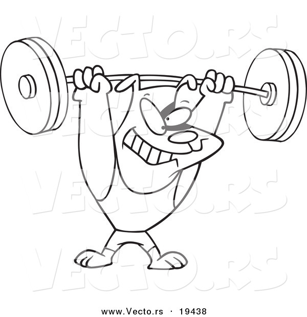 Vector of a Cartoon Dog Lifting Weights - Outlined Coloring Page