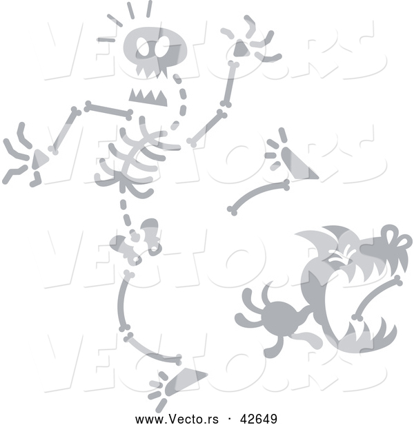Vector of a Cartoon Dog Stealing Bone from Creepy Skeleton