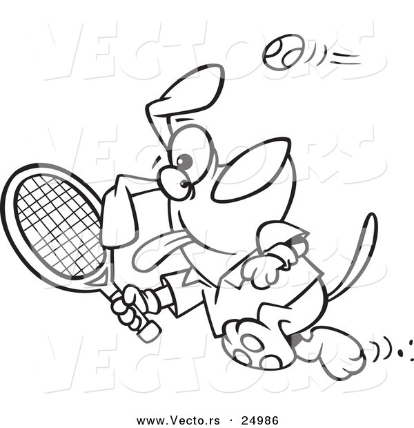 Vector of a Cartoon Dog Swinging a Tennis Racket - Outlined Coloring Page