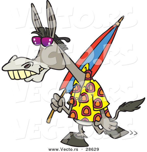 Vector of a Cartoon Donkey Carrying an Umbrella While Walking to the Beach