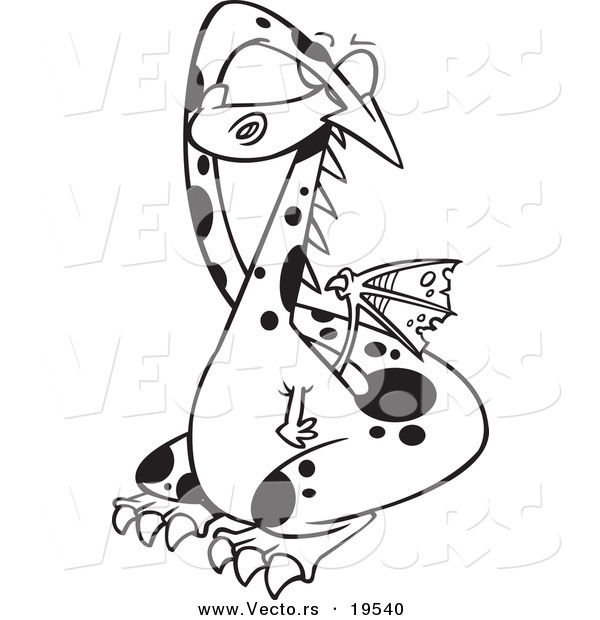 Vector of a Cartoon Dragon Covering His Eyes - Outlined Coloring Page