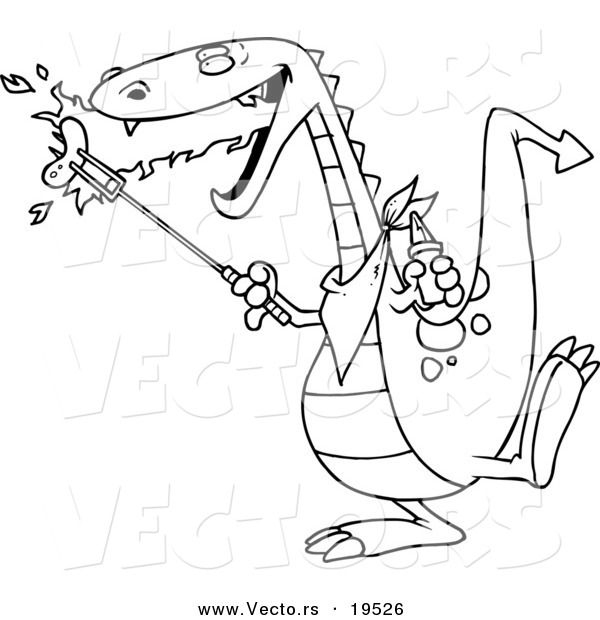 Vector of a Cartoon Dragon Roasting Sausage - Outlined Coloring Page