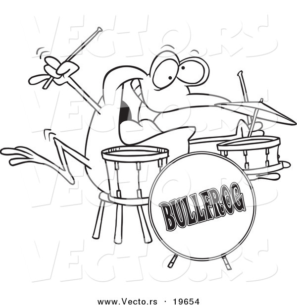 Vector of a Cartoon Drummer Frog - Outlined Coloring Page