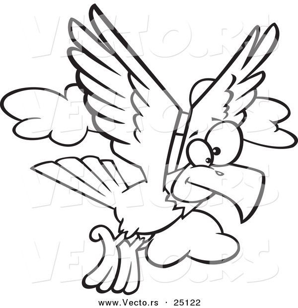 Vector of a Cartoon Eagle Flying - Coloring Page Outline
