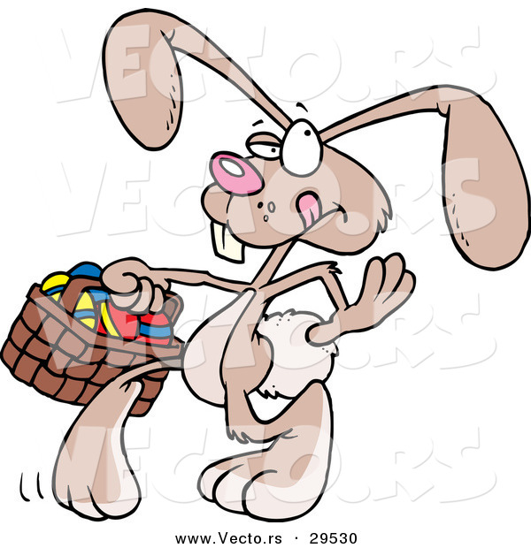 Vector of a Cartoon Easter Bunny Looking for Places to Hide Eggs