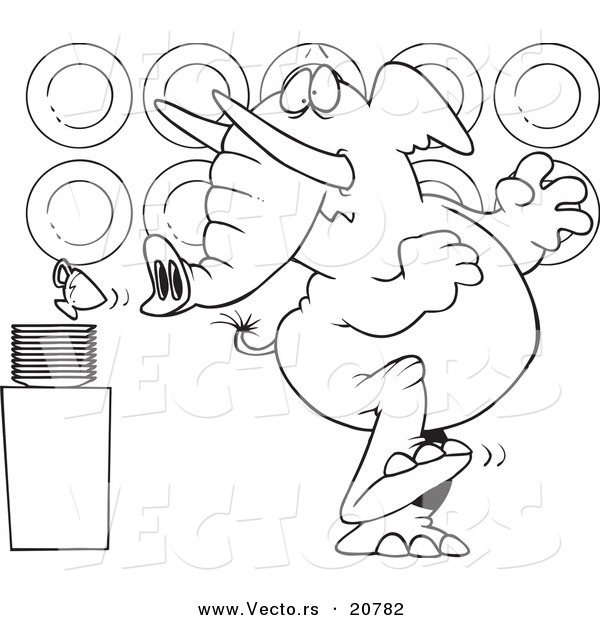 Vector of a Cartoon Elephant in a China Shop - Coloring Page Outline