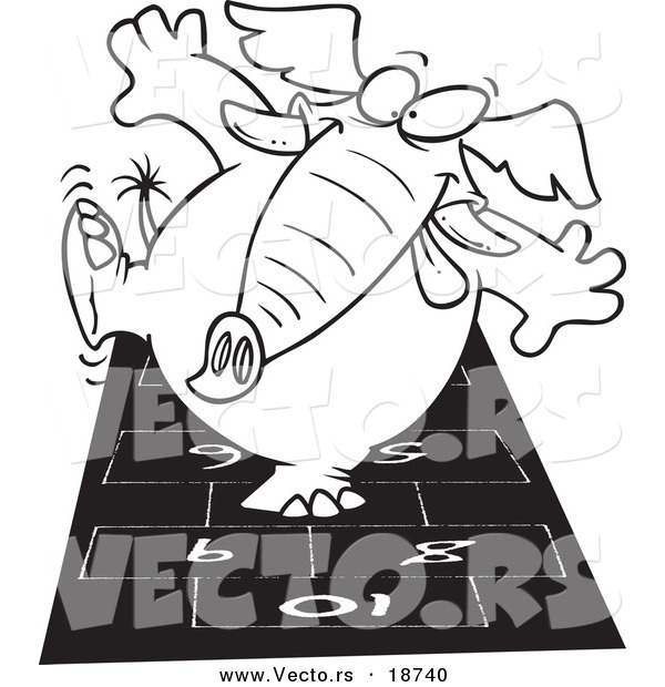 Vector of a Cartoon Elephant Playing Hop Scotch - Outlined Coloring Page
