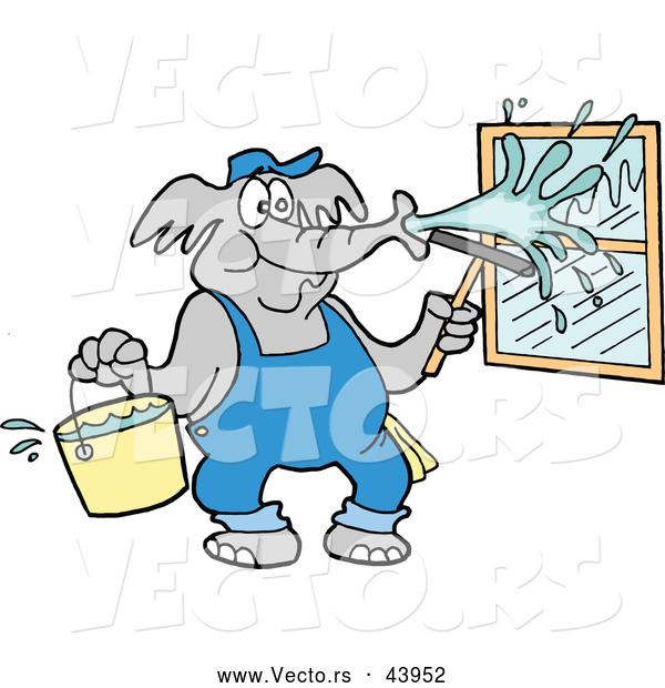 Vector of a Cartoon Elephant Pressure Washing Window with Water from a Bucket