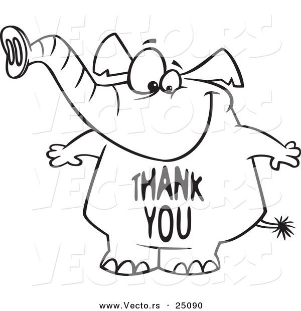 Vector of a Cartoon Elephant with a Thank You Belly - Outlined Coloring Page