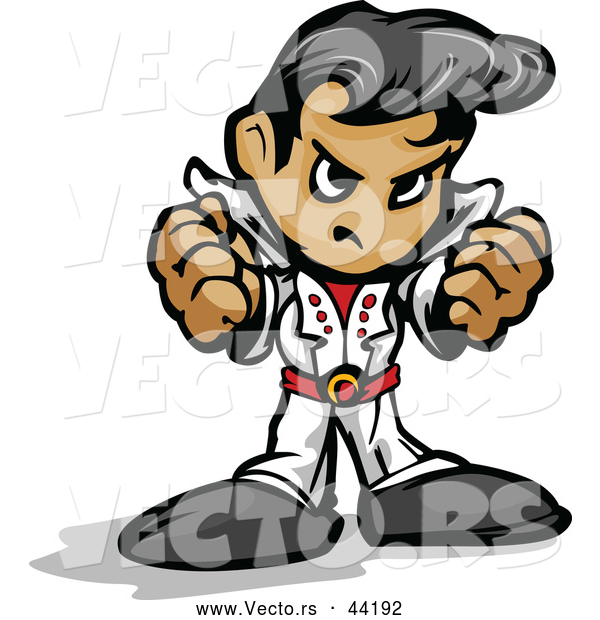 Vector of a Cartoon Elvis Intimidating with Fists and Mean Grin