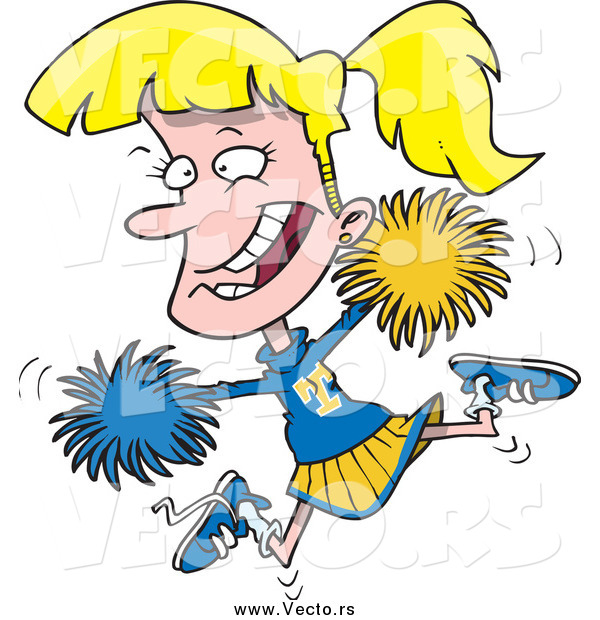 Vector of a Cartoon Energetic Blond Jumping Cheerleader Girl