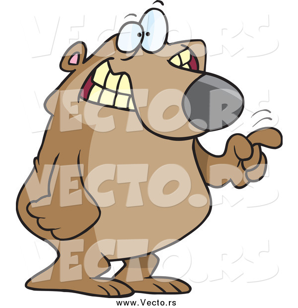 Vector of a Cartoon Excited Bear Tapping with His Finger