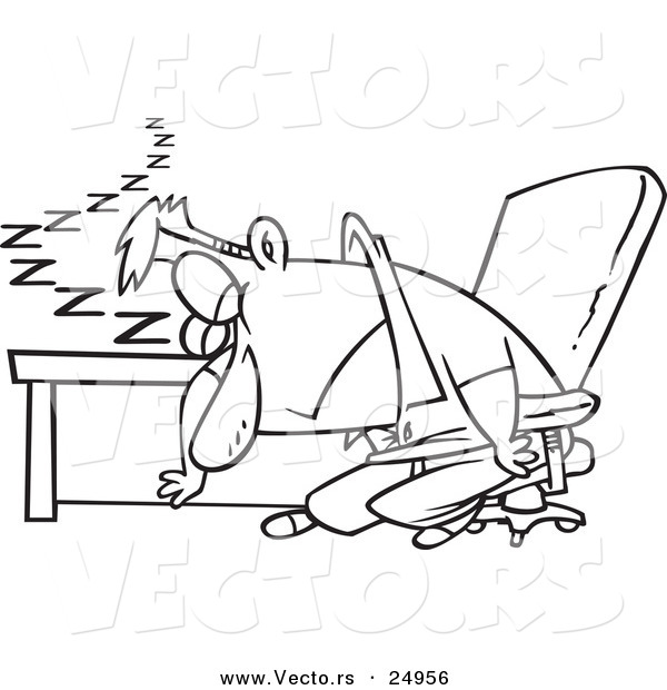 Vector of a Cartoon Exhausted Man Dozing at His Desk - Outlined Coloring Page