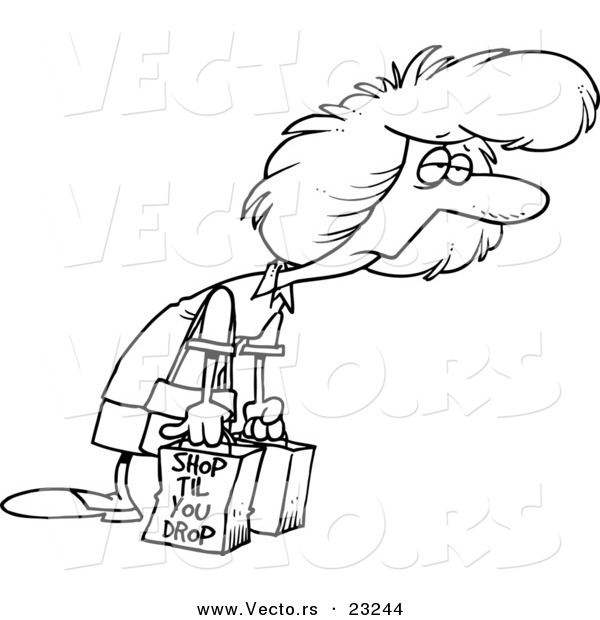 Vector of a Cartoon Exhausted Shopaholic - Coloring Page Outline