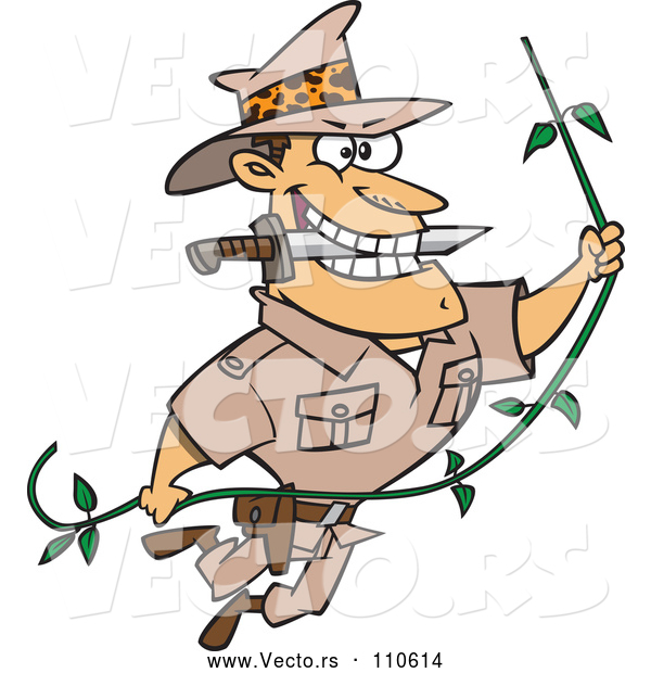 Vector of a Cartoon Explorer Man Swinging on a Vine with Knife in Teeth