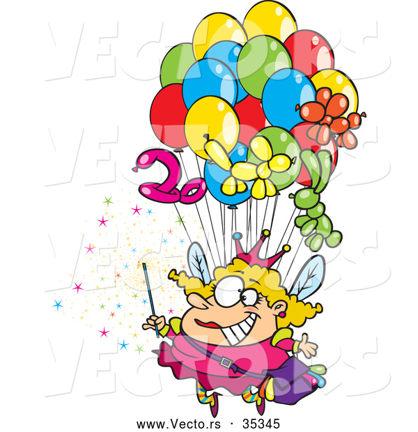 Vector of a Cartoon Fairy Floating up with Lots of Balloons