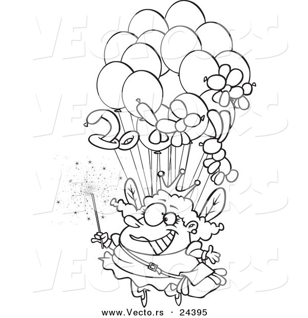 Vector of a Cartoon Fairy Floating with Balloons - Outlined Coloring Page