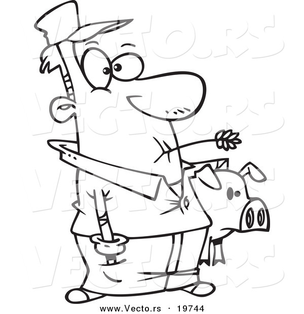 Vector of a Cartoon Farmer Holding His Pig - Outlined Coloring Page