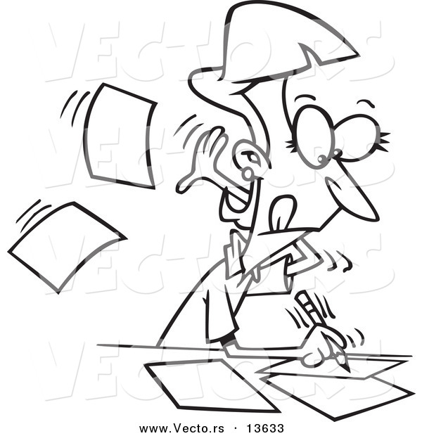 Vector of a Cartoon Fast Author Writing on Pages - Coloring Page Outline