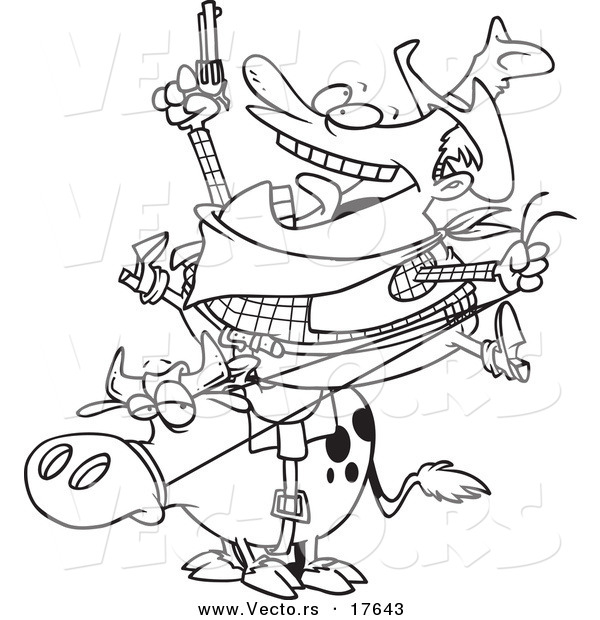 Vector of a Cartoon Fat Cowboy on a Bull - Coloring Page Outline