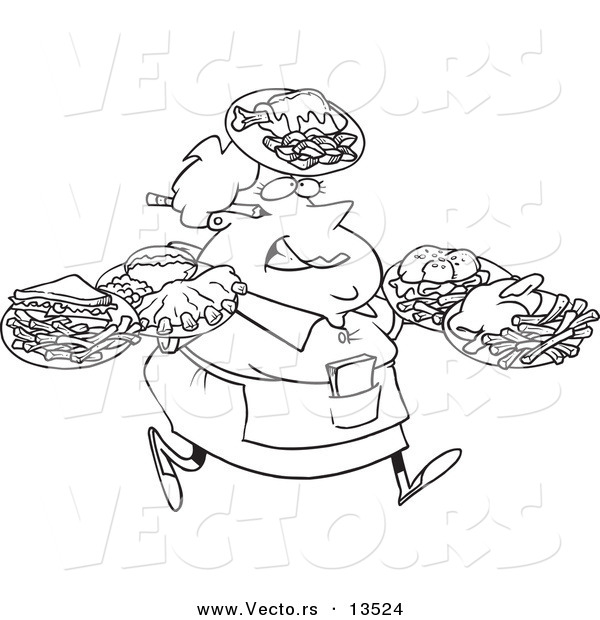 Vector of a Cartoon Fat Female Waitress Carrying Many Plates - Coloring Page Outline