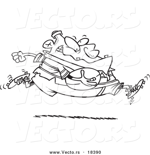 Vector of a Cartoon Fat Rugby Football Player Running - Outlined Coloring Page