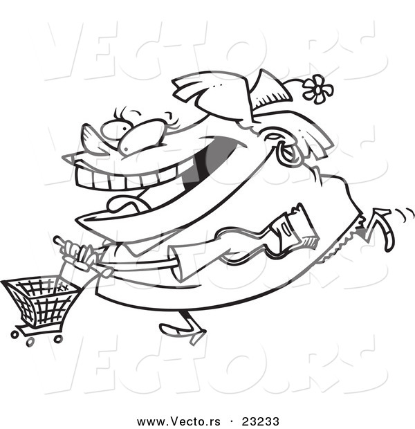 Vector of a Cartoon Fat Woman Shopping - Coloring Page Outline