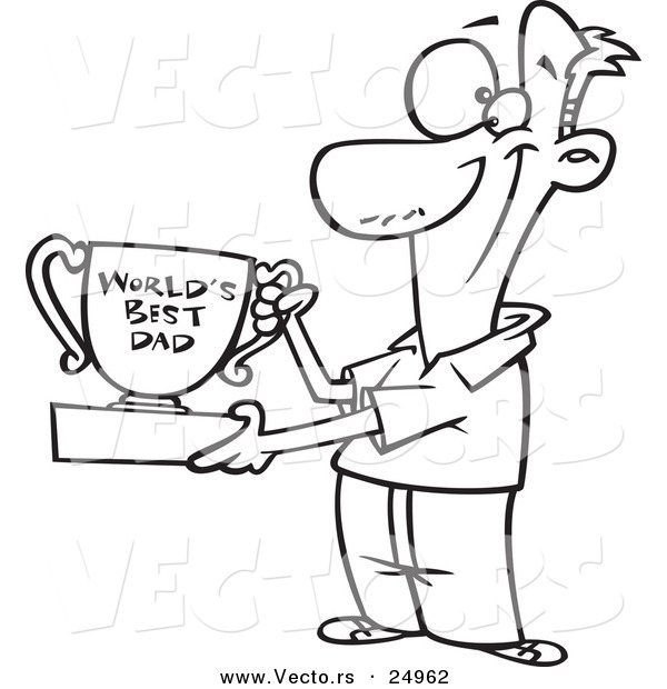Vector of a Cartoon Father Proudly Holding a Worlds Best Dad Trophy Cup - Outlined Coloring Page