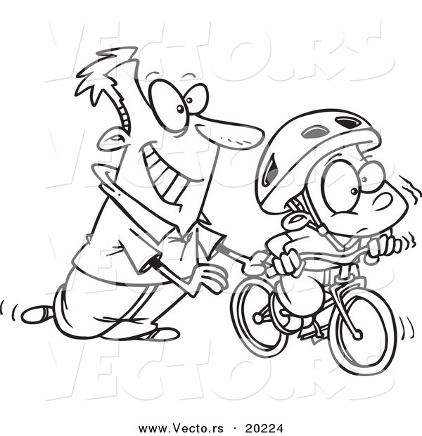Vector of a Cartoon Father Teaching His Boy to Ride a Bike - Outlined Coloring Page